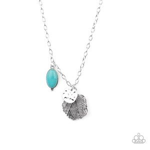 Turquoise Stone Silver Leaf Necklace Earring Set